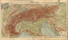 Carta geografica antica ALPI e ITALIA SETTENTRIONALE 1897 Old antique map