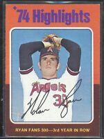 Nolan Ryan 1975 Topps vintage baseball card #5 Angels '74 Highlights