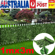 Artificial Fake Ivy Leaf Roll Dense Fence Green Garden Hedge 3m Long by 1m Wide