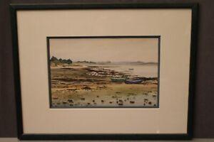 Aquarelle signée Quinette paysage littoral breton golfe du Morbihan Bretagne