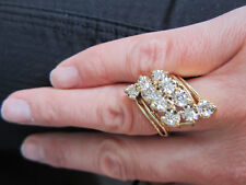 1.75 Ct Round Cut Diamond Engagement Marquise Cluster Ring 14K Yellow Gold Fn