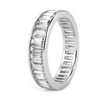F/VS 2.00 Carat Baguette Diamond Channel Set Full Eternity Ring, 18k White Gold
