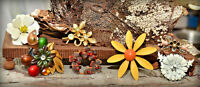 vintage rhinestone autumn enamel flower brooch floral pin lot