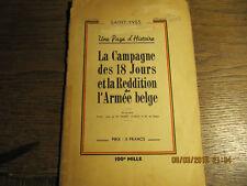La campagne des 18 jours et la reddition de l'armée belge SAINT-YVES