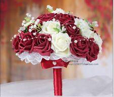 Handmade Burgundy Rose Flower Wedding Bridesmaid Bouquets Silk Bridal Flowers