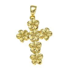 YELLOW GOLD STERLING SILVER 925 HAWAIIAN FANCY PLUMERIA FLOWER CROSS PENDANT