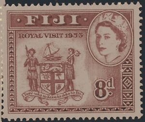Fiji 1953 Queen Elizabeth II Royal Visit 8d Scott #155 mint XF nh single