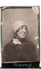 Lovely FLAPPER Cloche Hat Girl Woman Helen Profile Vtg 1920s Photobooth Photo
