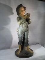 A.DE RANIERI ANCIENNE SUPERBE SCULPTURE LAMPE BUBLICITAIRE JOB POLYCHROME ENFANT
