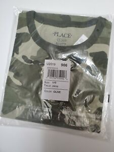 Children's Place 10/12. Camo print is solid over entire shirt. Short sleeve.