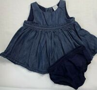 Baby Gap Girls 0-3 Months Blue Denim Ruffle Dress and Bloomer