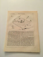 K79) Map of Battle of Bosworth Field War of the Roses 1845 Engraving