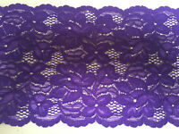 Premium Quality 5.75inch/15cm Violet Purple Double Edge Stretch Flat Lace Trim