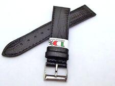 Cinturino nero 100% italia pelle stampa lucertola fibbia acciaio ansa 18 mm