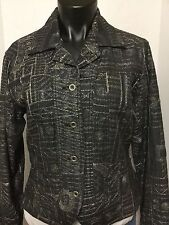 Chicos Size 1 Blazer Metallic Black Silver Fitted Button Front Lined Jacket