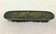 Antique Globe Flour Mill Advertising Brush Minnesota Hat Clothing Brush Wood SH