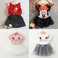 Toddler Kids Baby Girls Summer Outfits T-Shirt Tops Tutu Skirt Dress Set 2pcs