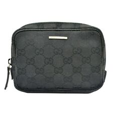 Authentic Gucci GG Canvas Pouch Case Black Silver Italy