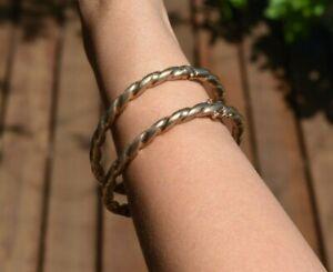 2 x Vintage 9ct 9k Gold Bangles / Bracelets x 2 Twist Design