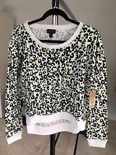 True Religion Cheetah High Low Sweater Sz M  Neon Accents Retails$139