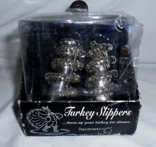 DEPT 56 ELEGANT SILVERPLATE TURKEY DRUMSTICK SLIPPERS ~ HOLIDAY DINNER NIB