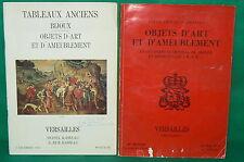 2 catalogues vente enchères VERSAILLES Tableaux objets d'art et d'ameublement