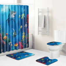 Sea World Bathroom Rug Set Shower Curtain Bath Mat Non-Slip Toilet Lid Cover