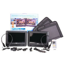 "Twin 9"" Screen in-car Portable DVD Player, Seat Straps, Remote.Region Free"