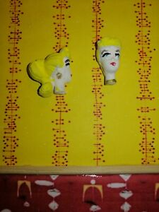 Mid Century Dolls House 1:16  lundby size pair of chalkware heads, Barbie