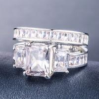 Luxury 2pcs/set Emerald Cut White Sapphire 925 Silver Wedding Ring Size 6-10
