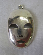 1 Metal Charm Face Mask For Feature Bead Suncatcher, Mobile Silver Tone MM084
