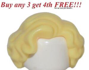 ☀️NEW Lego Minifig Hair Female Girl Yellow Short Wavy Light Blonde Monroe