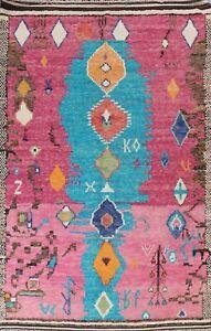 Soft Plush Modern Moroccan Berber Geometric Oriental Area Rug Wool Handmade 8x11