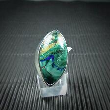 Ring Gr. 56, Silber 925, mit einem Azurit/Malachit Cabochon aus Arizona