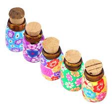 5Pcs Mini Flaschen Fläschchen Glas Fimo Flaschen Behälter Mit Korken Nett-PAL