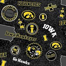 Iowa Hawkeyes NCAA Home State Design Cotton Fabric-IA-1208-$9.49/yard