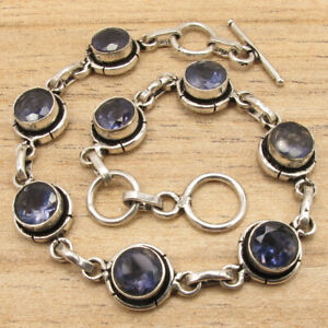 925 Silver Plated Real IOLITE Gemstone Handcrafted INEXPENSIVE Bracelet 7.6""