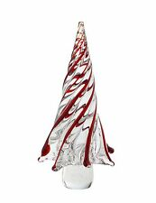 """New 11"""" Large Hand Blown Art Glass Christmas Tree Sculpture Figurine Red Clear"""