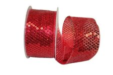 "10 Yds. roll SHEER RED SEQUIN WIRE EDGE RIBBON  2 1/2"" wide"