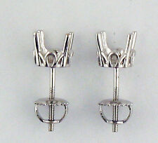 2CT TW Antique Style Stud Earrings Settings 1Carat Each 14K Solid White Gold