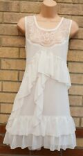 LIPSY WHITE LACE RUFFLE FRILL SLEEVELESS A LINE SMOCK BOHEMIAN TEA DRESS 10 12 M