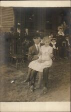 Girl Sitting on Dad's Lap Hands on Arms - Bowler's Hat Real Photo Postcard