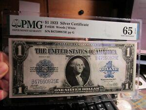 UNREAL GEM 1923  $1 SILVER CERTIFICATE PMG 65 GEM UNC & EPQ  Fr 238  OUTSTANDING