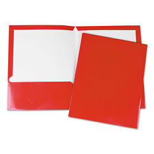 UNIVERSAL Laminated Two-Pocket Folder Cardboard Paper Red 11 x 8 1/2 25/Box