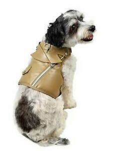 Martha Stewart Tan Brown Faux Leather XS Dog Harness Vest New Moto Walking