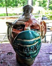 Ugly jug .. Southern Pottery Face Jug- Cov-19-signed-Decorative Southern Pottery