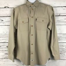 The North Face Outdoor Camp Shirt Mens L/G Khaki Long Sleeves Button Down Cotton