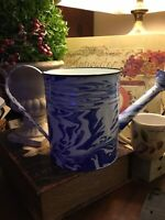 "Blue & White Enamelware/Splatterware-Watering Can-Large-8.5""H X 14.5""L-NEW-LOOK!"