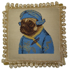 """12"""" x 12"""" Wool Needlepoint Dog Pug Boy in Blue Ancient Chinese Costume Pillow"""