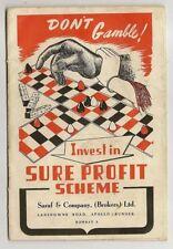 1950 India Sure Profit Scheme SCAM booklet